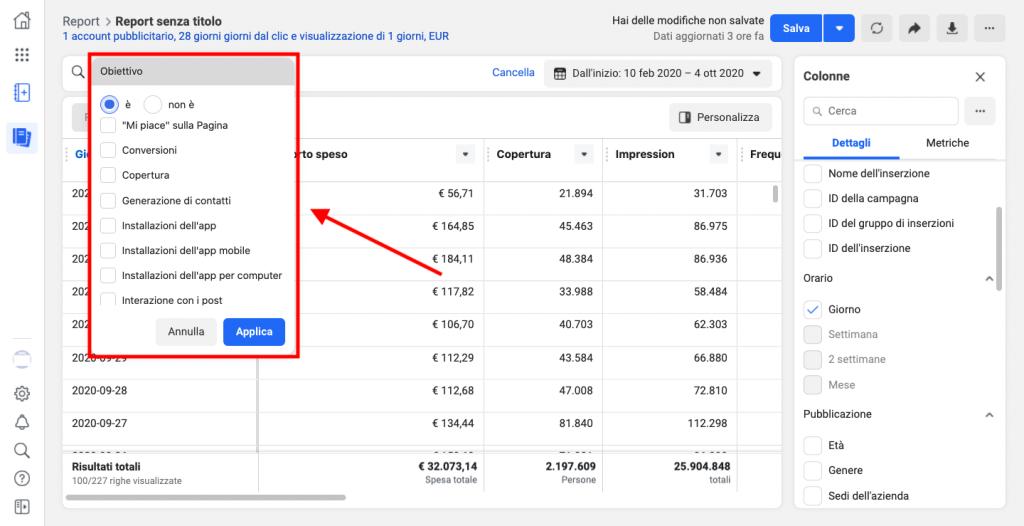 Come analizzare un report delle Facebook Ads
