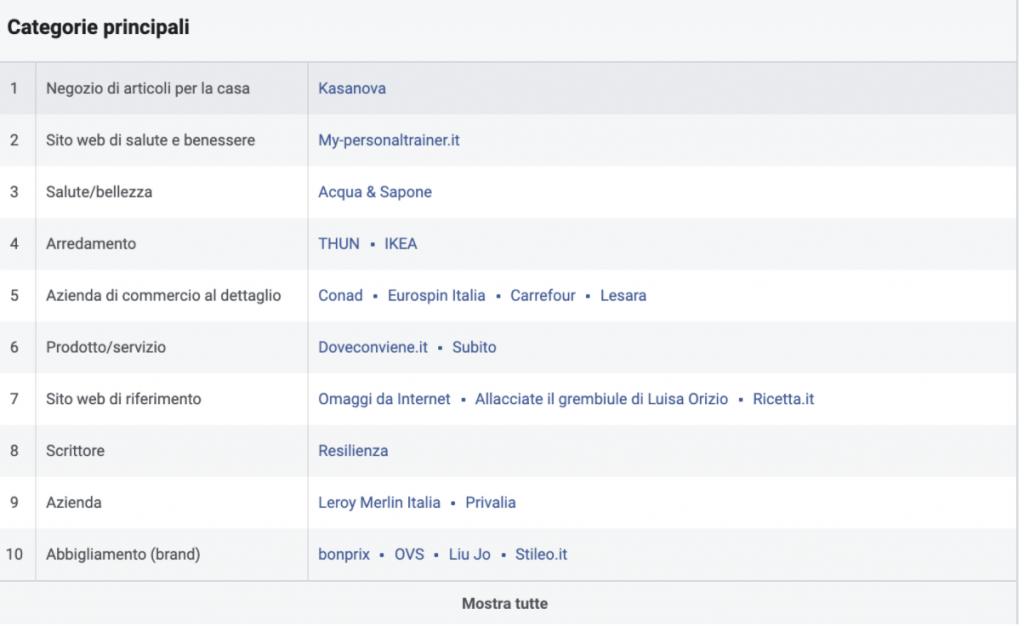 Categorie principali Facebook audience insights