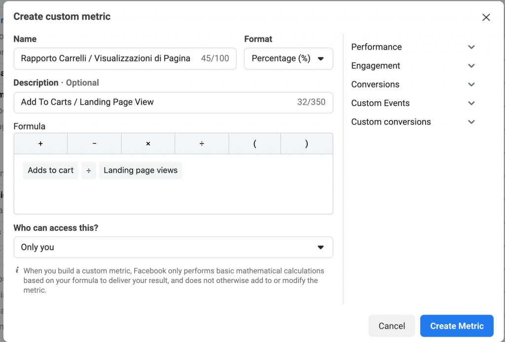 Rapporto visualizzazioni di pagina / carrelli (Atc / Landing Page View)
