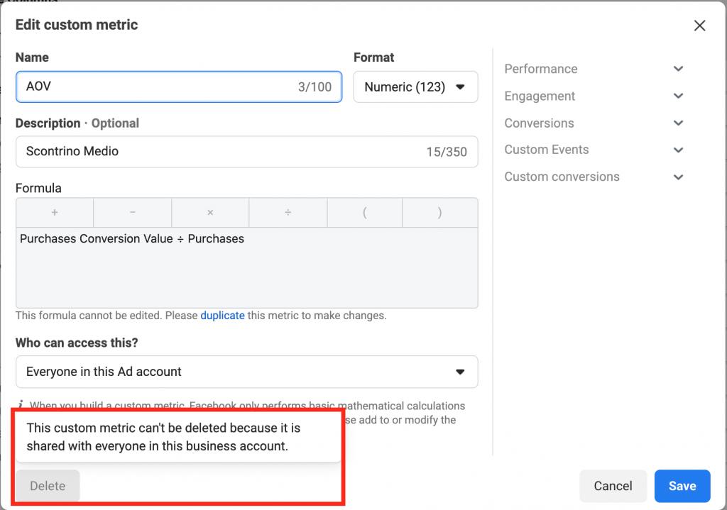 edit custom metrics