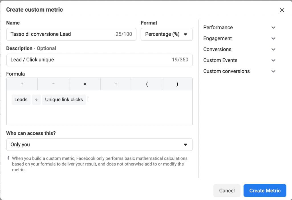 Tasso di conversione lead (Lead /Click Link Unique o Lead Unique /Landing Page ViewUnique)