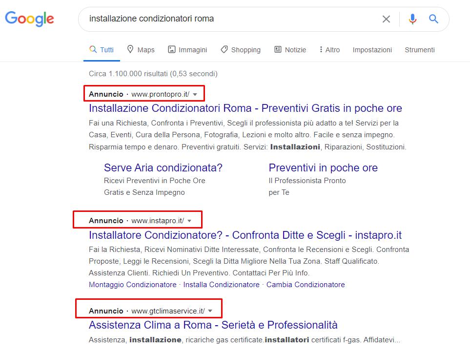Google Ads  associato agli annunci sponsorizzati su rete di ricerca