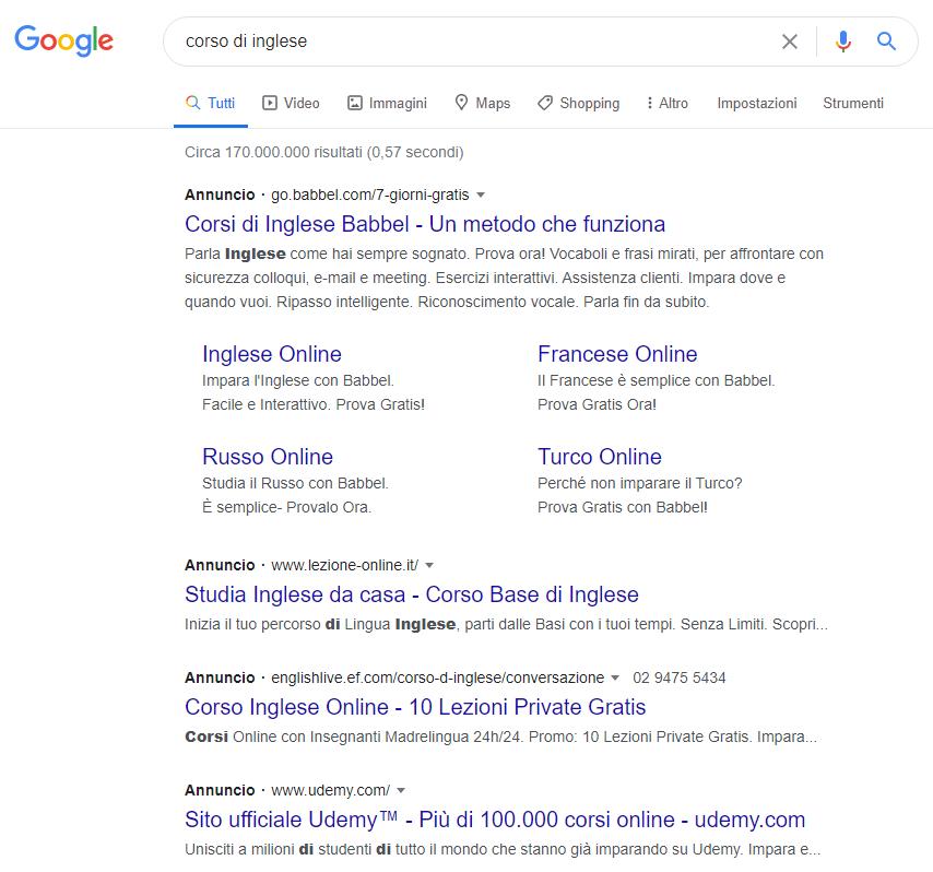 Varianti degli annunci per campagne google ads