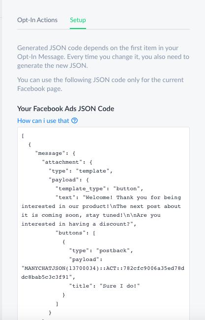 Facebook Ads JSON