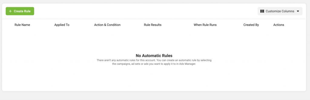 """Una volta entrato nella sezione """"regole automatiche"""" troverai una dashboard vuota o con le regole che hai già creato."""