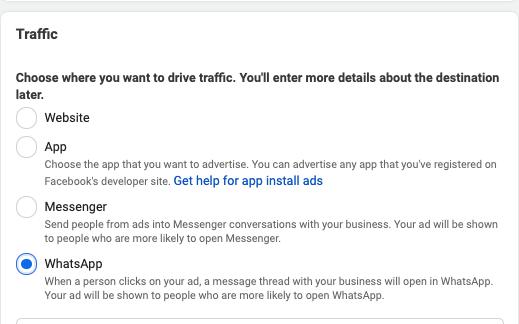 Portare traffico da facebook ads a whatsapp: scenari di utilizzo