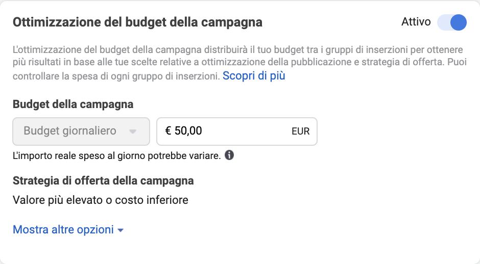 Campaign Budget Optimization (CBO, appunto) è un'impostazione a livello campagna, che indica semplicemente all'advertiser la strategia di offerta