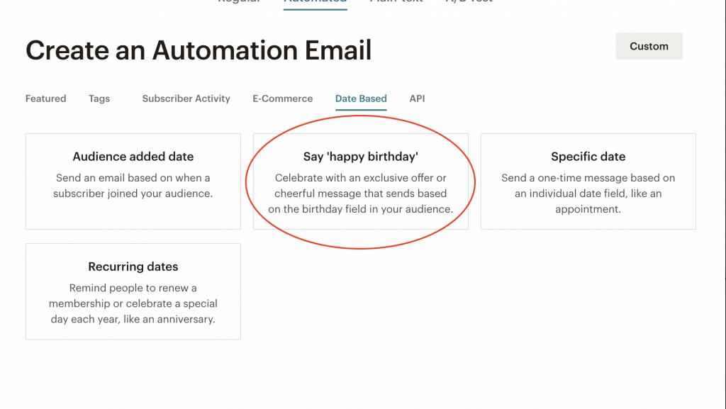 Mailchimp: dove trovare l'automazione che ti permette di inviare gli auguri di compleanno ai tuoi utenti