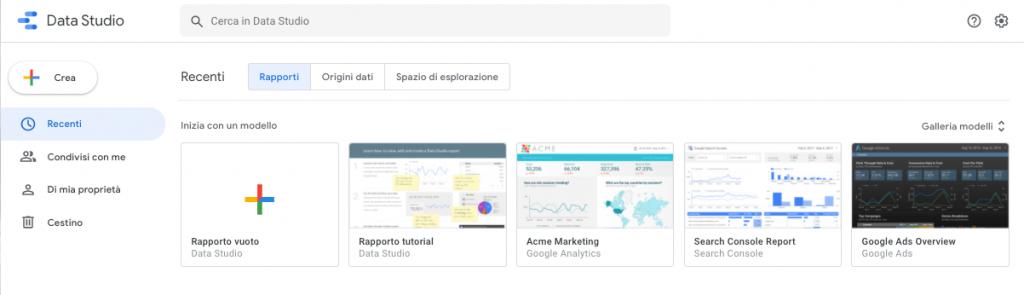 Crea delle Dashboard con Google Data Studio