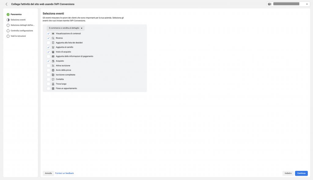 Come si configura il Conversion API