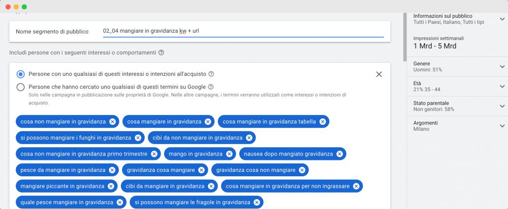 Subito dopo la fase di analisi siamo passati a quella operativa. Abbiamo quindi creato i diversi segmenti di pubblico personalizzati utilizzando le combinazioni che Google ci mette a disposizione.