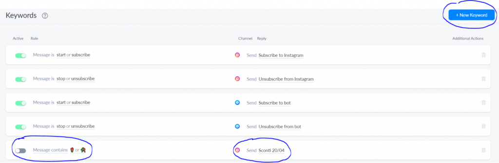 Creare un'automazione che parte quando l'utente scrive una keyword specifica in chat