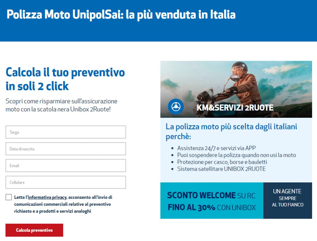 L'assicurazione UnipolSai ti informa dei vantaggi che potresti avere sottoscrivendo una polizza e ti invita a fare un preventivo che è la principale informazione che vuoi ottenere quanto stai cercando un'assicurazione per il tuo mezzo di trasporto.